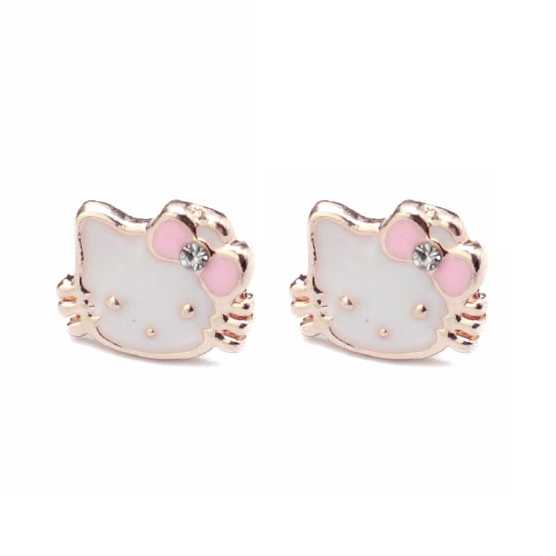 Cute Children Crystal Hello Kitty Cat Earrings for Girls Kids Gold ...