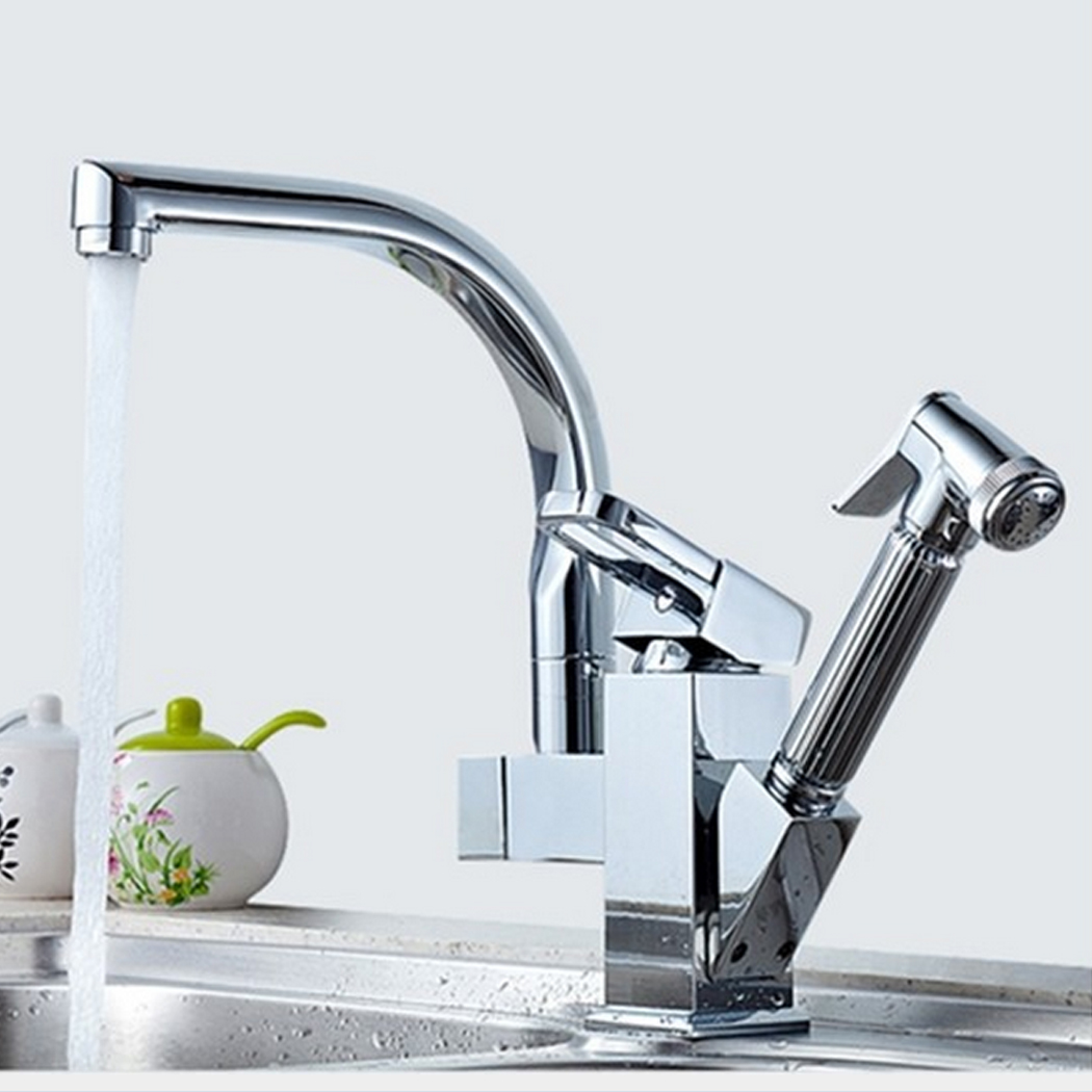 Polished Chrome LED Pull Out Kitchen Faucet Double Spout Deck Mount Kitchen Mixers with Hot and