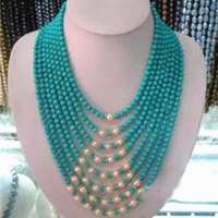 High grade 8 rows 6mm synthetic calaite turquoises stone white natural pearl round beads necklace fashion jewelry 17 26MY4791
