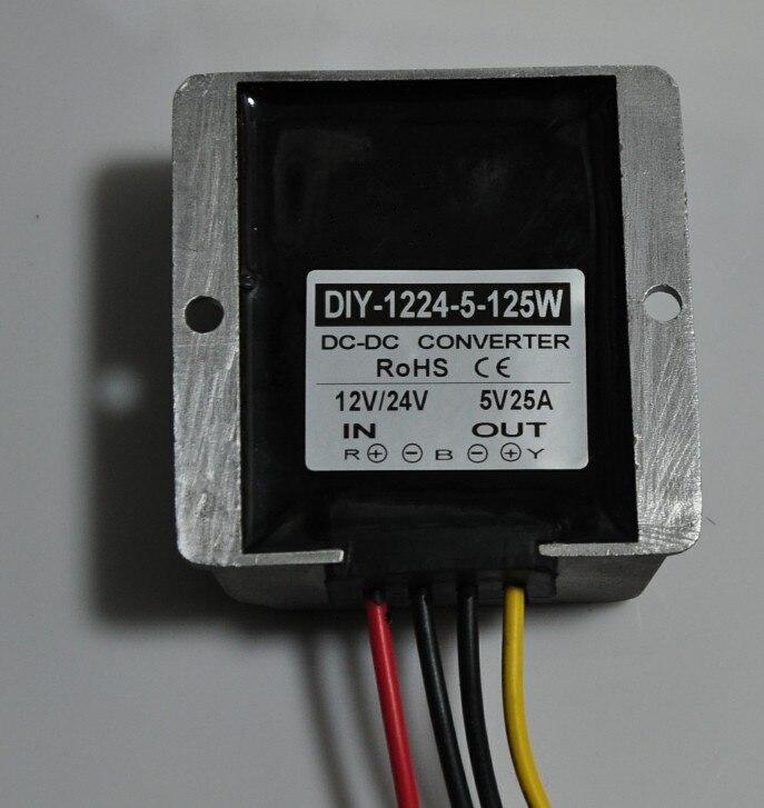 цена на 12V24V Step Down 5V 25A 125W Power Supply Converter DC-DC Buck Module LED Car Display Power Supply Voltage Regulator Waterproof
