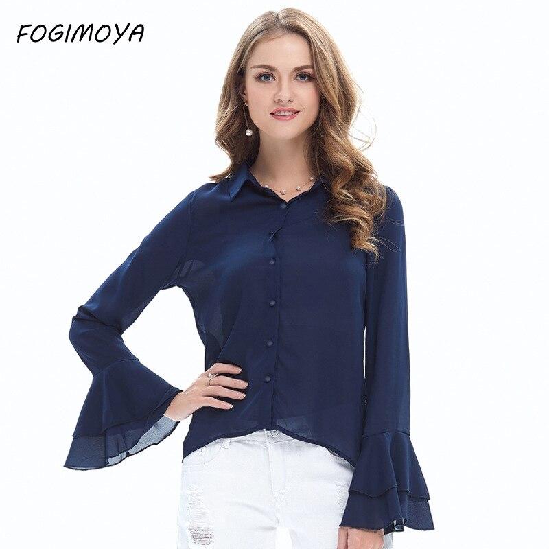 FOGIMOYA Blouses Women Autumn Fashion Chiffon Turn Down Collar Neck Tops Womens 2017 Flare Sleeve Brand Wild Blouses New
