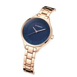 Curren nova moda criativa feminina relógios vestido senhoras pulseira relógio de ouro rosa feminino relógio de pulso de aço completo presente