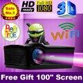 """Бесплатный Подарок 100 """"экран HDMI проектор Full HD LED 5500 люмен домашний кинотеатр proyector 3D Android 4.4 Wi-Fi beamer CT03h2"""