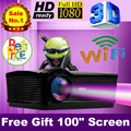 "Free Gift 100"" screen HDMI projector Full HD LED 5500lumens home theater proyector 3D Android 4.4 WiFi Portable beamer CT03h2"