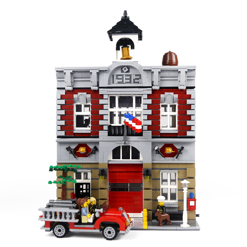 Lepin 15004 2313Pcs City Street Fire Brigade Model Building Kits Blocks Bricks Compatible 10197 Brick lepin 15004 2313pcs city creator series fire brigade model building blocks bricks toys for children gift compatible 10197