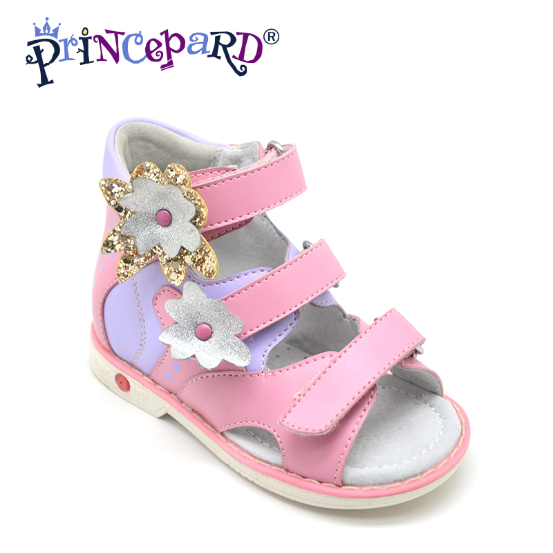 Princepard Need Customize in Advance 20 days Orthopedic shoes for girls pink genuine leather sandals