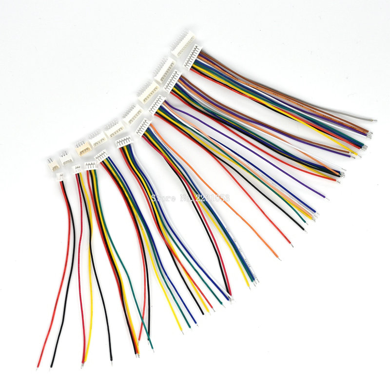 10Sets Male & Female Cable Connector XH 1.25 2/3/4/5/6/7/8/9/10 Pin Single Head Plug With 10cm Electronic Wire Connectors
