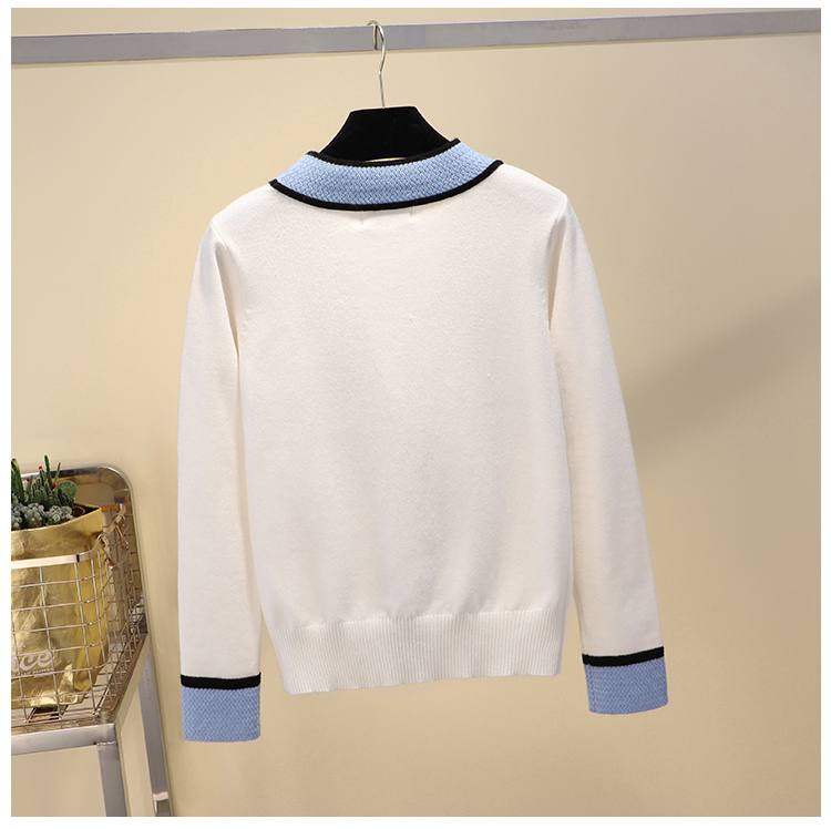 Luxury Designer Brand Knitted Sweater for Women V Neck Contrast Color Buttons Knitted Cardigan Sweater 5