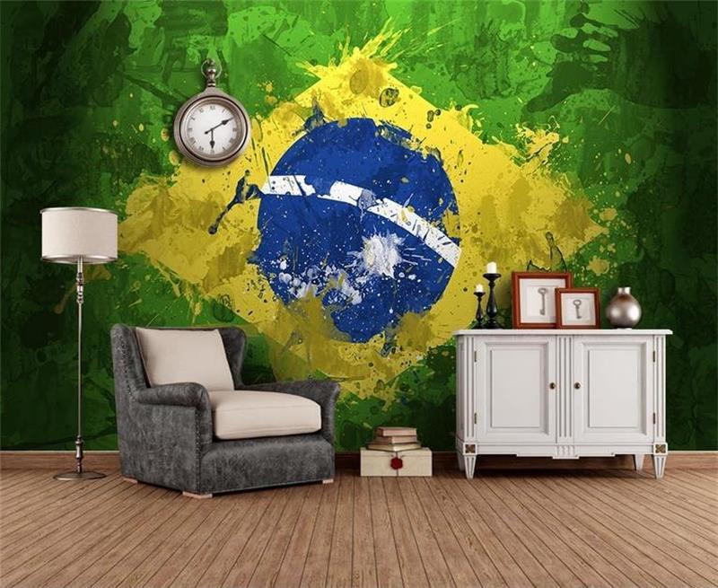 3d livingroom wallpaper custom photo mural non-woven wall sticker flag of Brazil graffiti painting picture wallpaper for wall 3d stylish tree memory pattern photo wall sticker for bedroom livingroom decoration