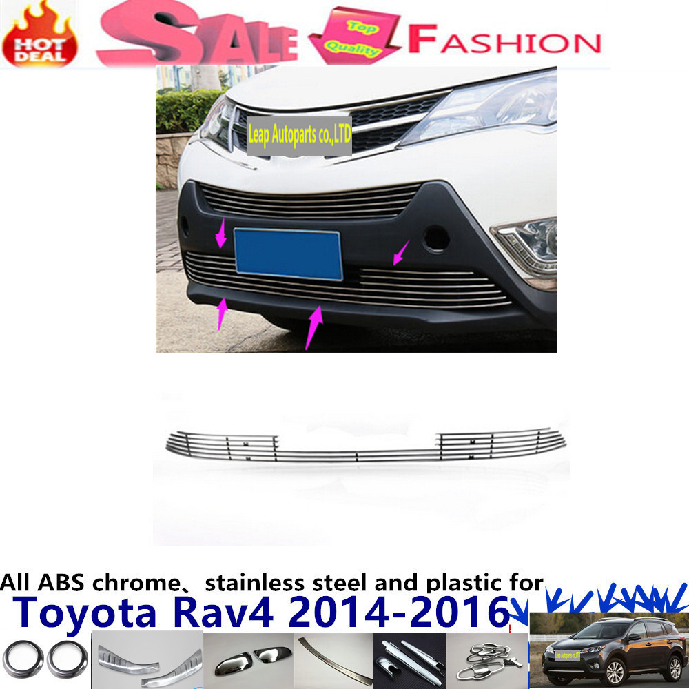 car body stainless steel trim head Front bottom Grid Grill Grille Modling Strip frame 1pcs for Toyota RAV4 2014 2015 2016 car cover bumper engine abs chrome trims front bottom grid grill grille around edge 1pcs t0y0ta corolla altis 2014 2015 2016
