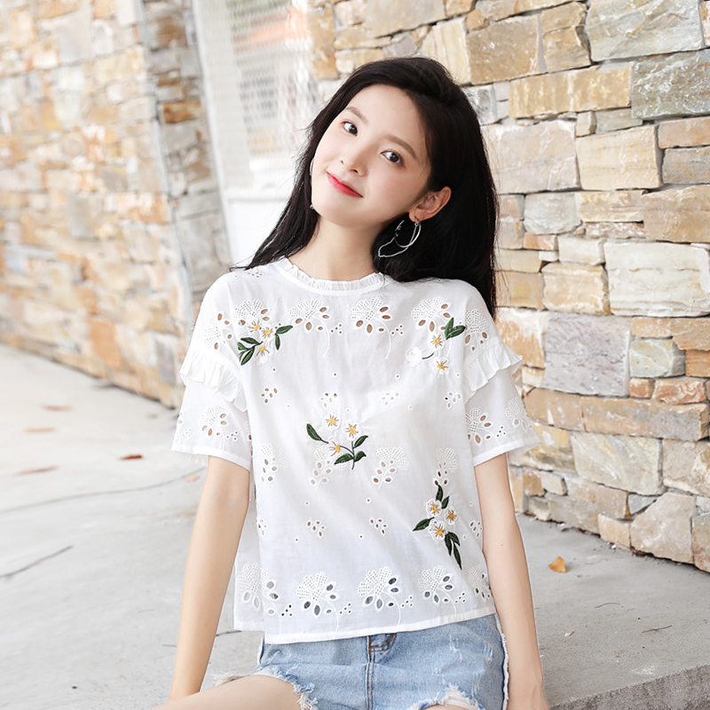 Dropshipping Korean Sale Short Zanzea Blouse 2018 New Summer Tshirt Women Floral Hollow Out Ladies Clothes O-neck T-shirt Tops