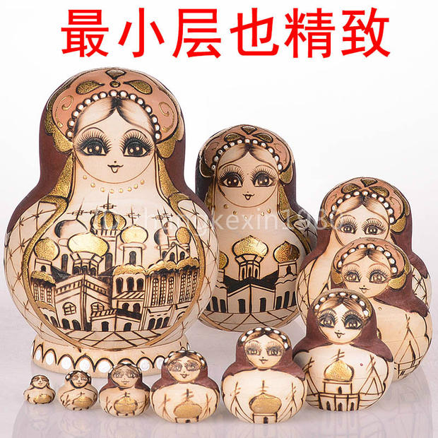 10 Layers/set 15cm Baby Toy Nesting Dolls Wooden Russian Dolls Basswood Pyrography Matryoshka Doll Kids Collection Gift