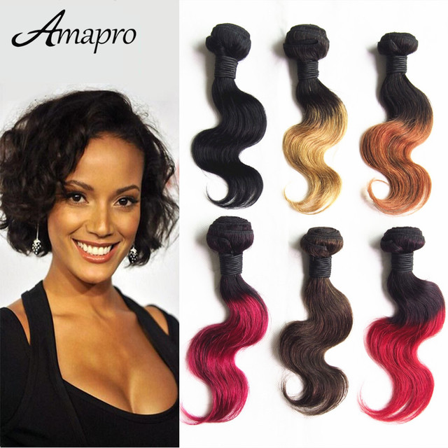 Amapro Hair Products 1pc Free Shipping Ombre Brazilian Hair Weave