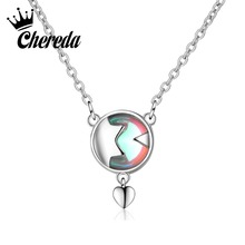 Chereda Round Multied Necklace for Women Short Heart Shape Chain Pendant Literary Charm Jewelry