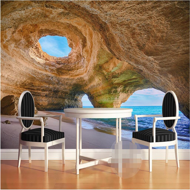 3D Mural Wallpaper Home Decor Background Photography Natural Cave Marvel Coast Landscape Bathroom Wall Mural for Living Room