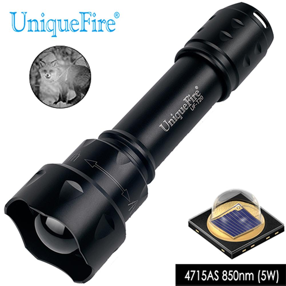 UniqueFire T20 IR 850mm 4715AS LED Rechargeable Flashlight Zoomable Adjustable 3 Modes Night Vision Light 5W Waterproof|night vision light|ir flashlight|flashlight zoomable - title=