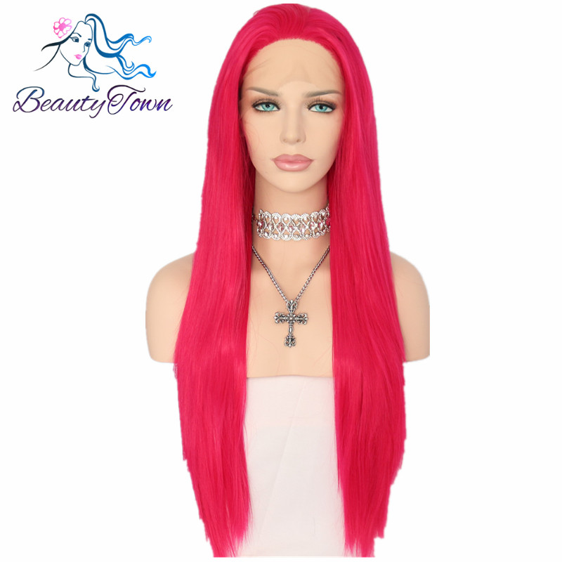 BeautyTown Straight Type Heat Resistant Hair Pink Red Color Cosplay Perruque Synthetic Lace Front Wigs For