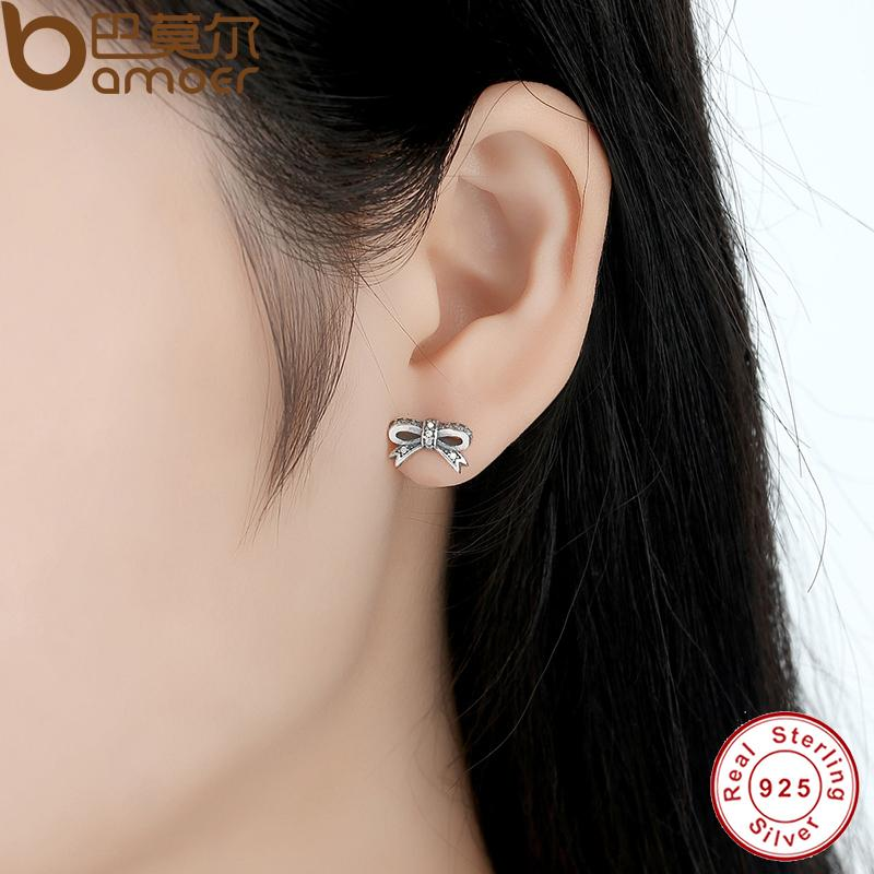 04f58a8f9 BAMOER Delicate 100% 925 Sterling Silver Sparkling Bow Stud Earrings With  Clear CZ Women Party Luxury Jewelry PAS407-in Stud Earrings from Jewelry ...