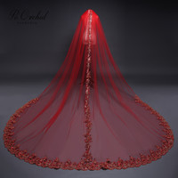 PEORCHID Red Lace Cathedral Wedding Veils With Comb Long Weding Accessories Velos De Novia 2019 Vintage Bridal Veil 3 Meters