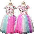 Nuevos 2-8 años niños grandes niñas vestido de hello kitty de la muchacha del verano vestidos de princesa de las muchachas del arco iris para niños traje vestidos