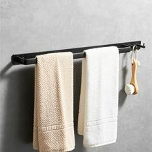 Черный держатель для полотенец для ванной комнаты с крючками настенное крепление алюминиевый Душ Caddy вешалка на клейкой основе etagere bain Фреска
