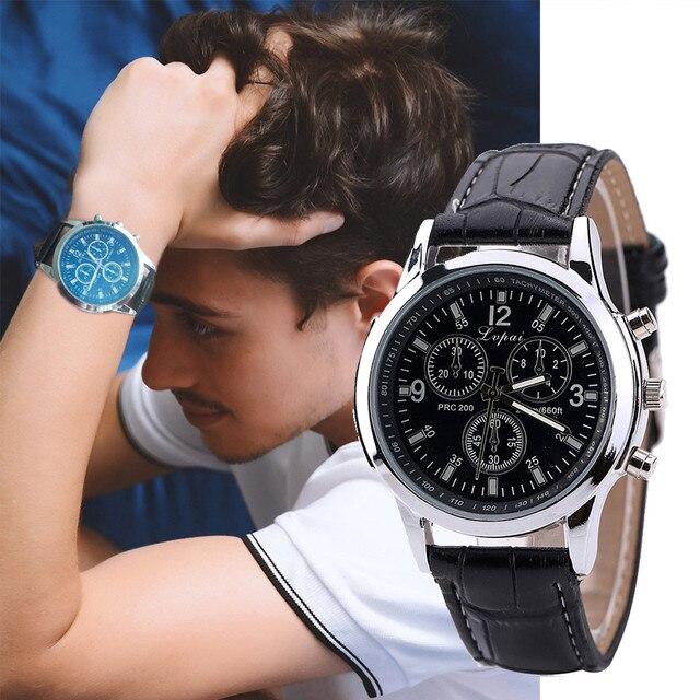 Fashion Casual Men Watch Luxury Quartz Leather Band Watches Mens Analog Wrist Wa