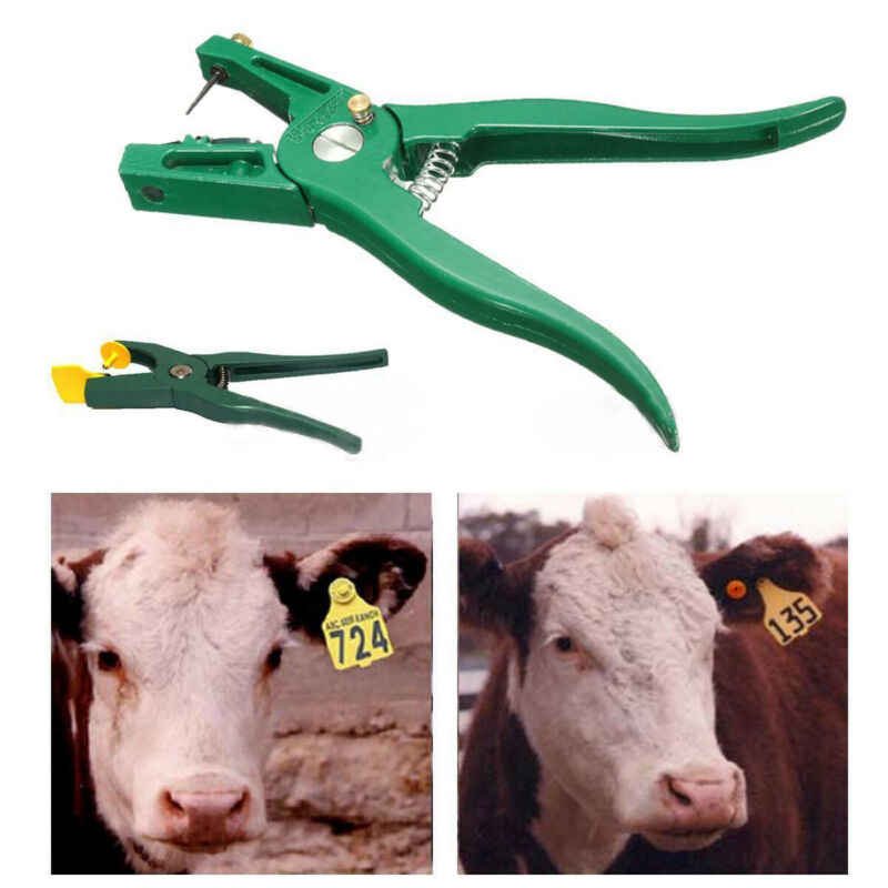 Livestock Cow Cattle Goat Sheep Ear Tag Plier Animal Tags Lables Marking Plier