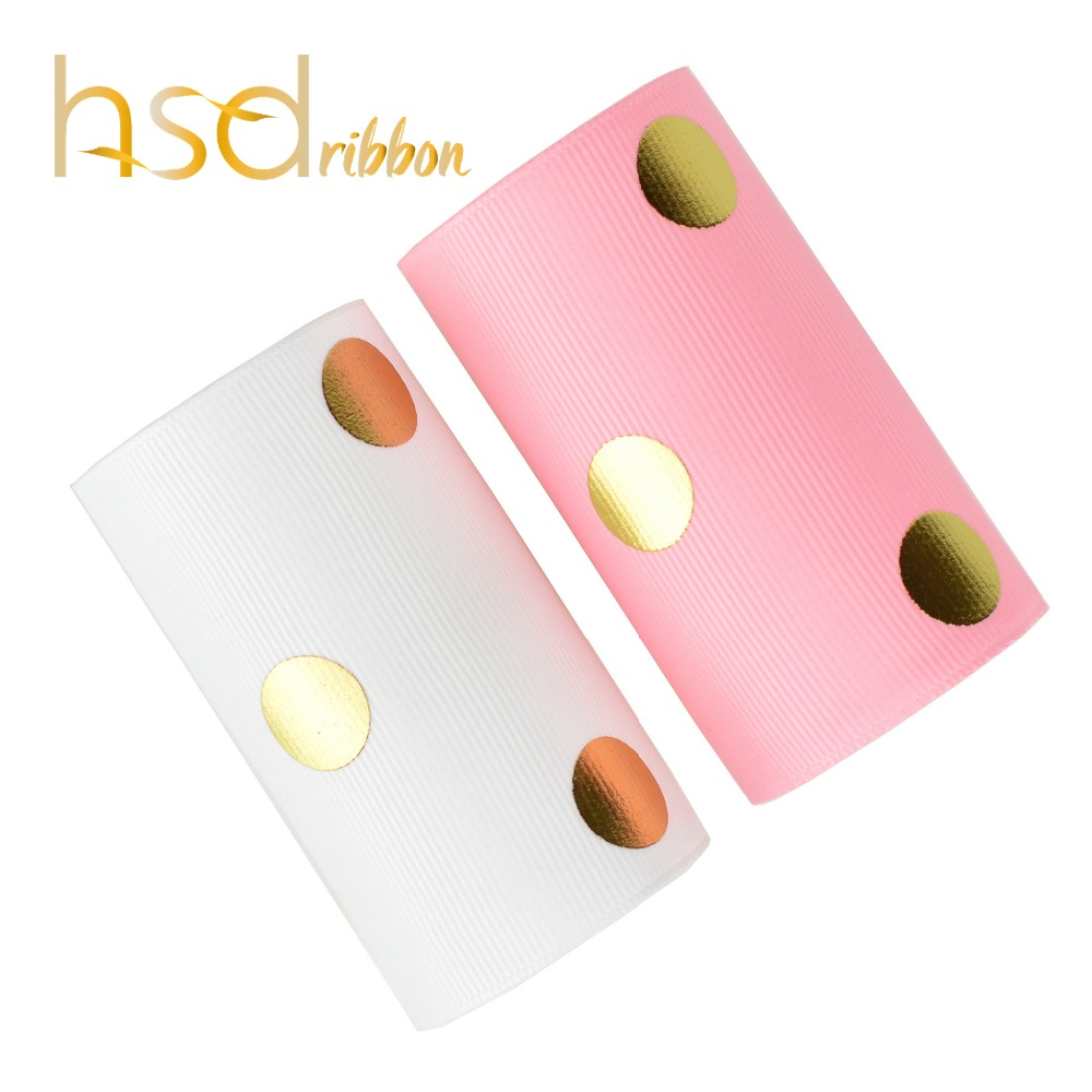 HSDRibbon 75MM 3inch classic series big dot Gold Foil on Solid Grosgrain Ribbon