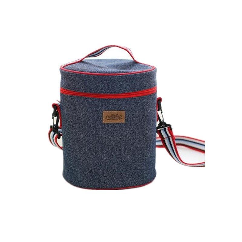 [WIT]Jeans and Aluminum Insulation Lunch Bag Shoulder Srap Picnic Bag Roll Lunch <font><b>Cooler</b></font> Tote Bag Travel Organizer Box Mommy Bag