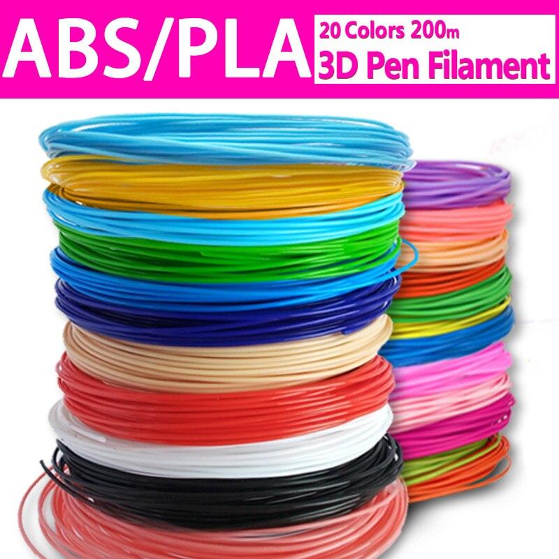 20 Colors Each Color 10 Meter 1.75MM PLA 3D Printing Pen Filament Refills,20 Rolls 10m 3D Printing Drawing Pen Filament Supplies(China)