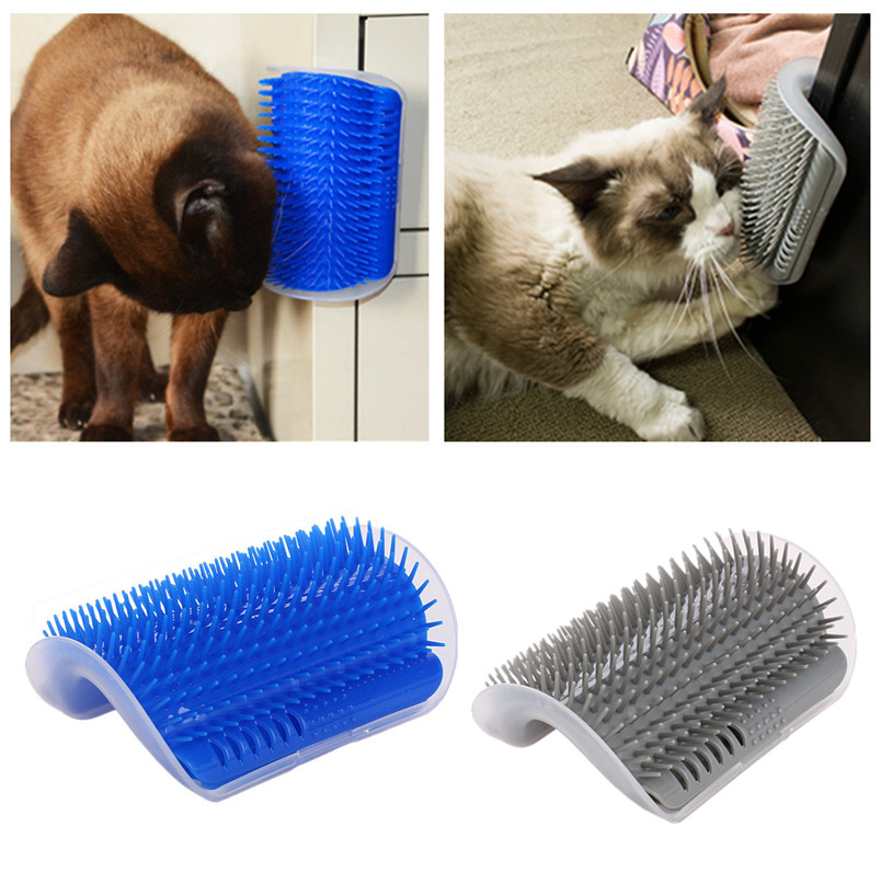 Pet Cat Self Grooming Comb Brush Corner Kitten Cat Self Massage Brush Hair Trimming Brush With Catnip Cat Scratcher Pet Toy