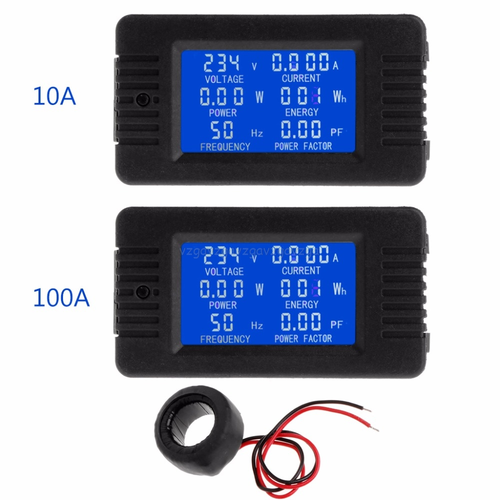 6 IN 1 Digital AC 20A 100A Voltage Energy Meter Voltmeter Ammeter Power Current Panel Watt Combo Indicator 110V 220V LCD O17