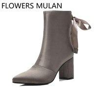 Новые женские ботильоны в стиле пэчворк из кожи и замши, модные женские ботиночки с бабочкой сзади, зимняя женская обувь на молнии