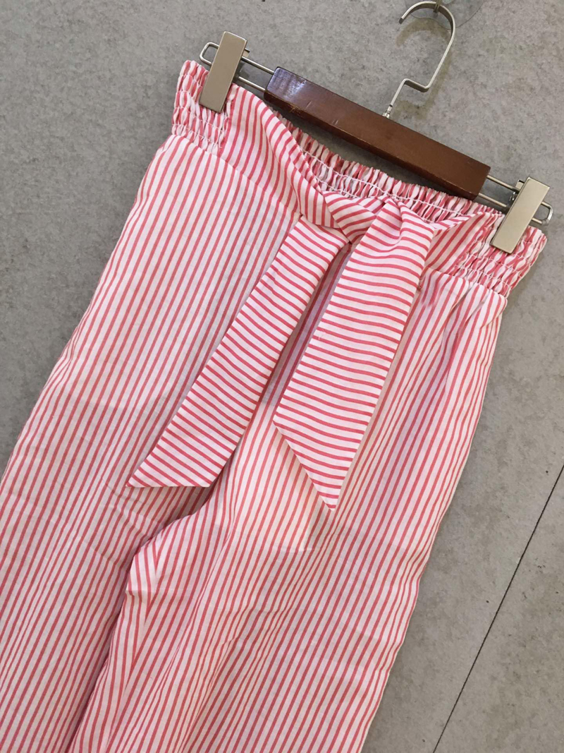 Rayé Pantalon Trouse Taille Rmsx 04 Printemps Coton Nouveau 2019 Femmes Haute 3 7FYqT