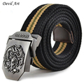 Hot Sale Canvas Dragon Totem Metal Buckle Belt 11 Colors Mens Ethnic Style Casual Waistband 110cm 140cm Free Shipping
