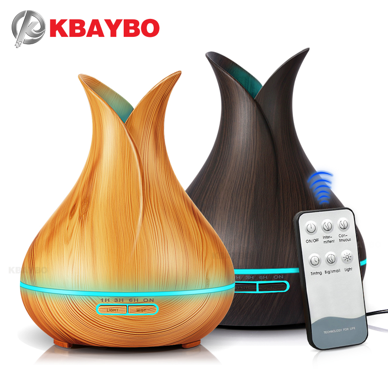 Ultrasonic Air Humidifier 400ml Aroma Essential Oil Diffuser with Wood Grain 7 Color Changing LED Lights for Office Home