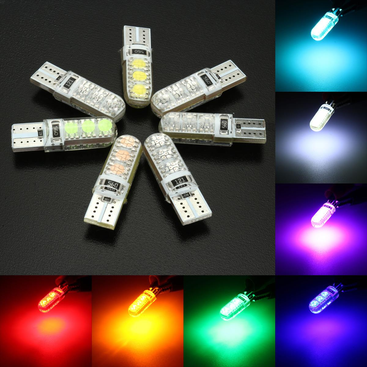 T10 194 501 W5W Motorcycle Car Silicone LED Side License Plate Light Bulb Wedge Lamp