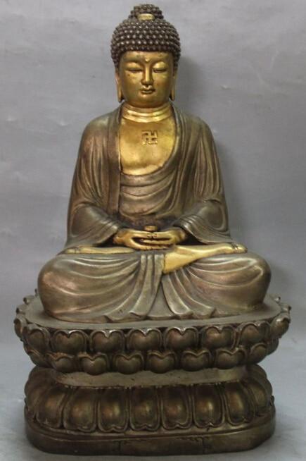 10 China Purple Bronze 24K Gold Pure Silver Seat Lotus Shakyamuni Buddha Statue R0711 (B0328)10 China Purple Bronze 24K Gold Pure Silver Seat Lotus Shakyamuni Buddha Statue R0711 (B0328)