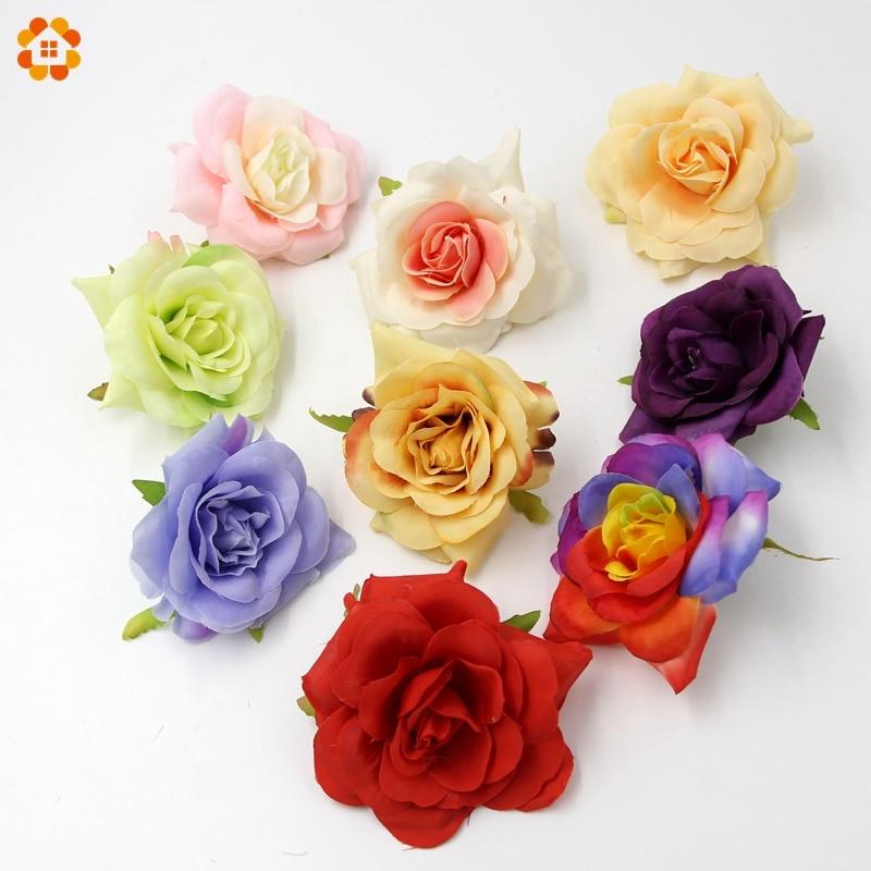 20 UNIDS DIY Rose Cabeza de Flores de Seda Artificial de Alta Calidad Para El Co