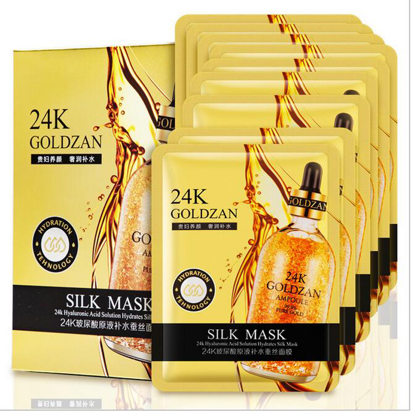 24K Hyaluronic Acid Face Mask Gold Foil Essence Hydrating Silk Mask Whitening Moisturizing Skin Care Products 30pcs