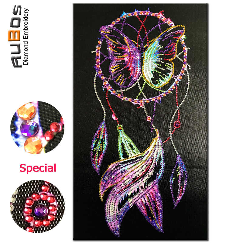 RUBOS DIY 5D Diamond Embroidery Dreamcatcher Butterfly Diamond Painting Crystal Bead Mosaic Picture Rhinestone Handicraft Gift