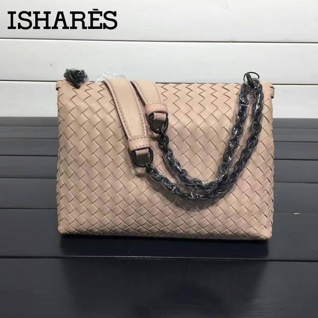 ISHARES sheepskin woven shoulder bags genuine leather chain bags women fashion design messenger bag crossbody cover bag IS168032