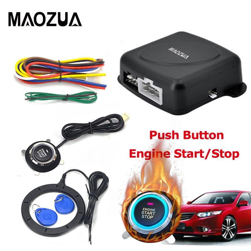 Maozua Auto Car Alarm Start Stop Engine Starline Push Start Button RFID Lock Ignition Switch Keyless Entry System Immobilizers