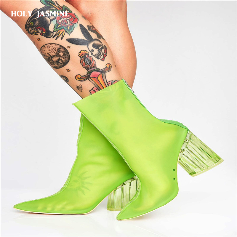 2019 Summer Hot sale new women PVC ankle boots pointed toe crystal heel transparent women boots