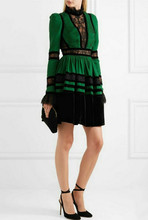 New 2019 spring lace patchwork long sleeves dress Chic womens elegant pleated G086