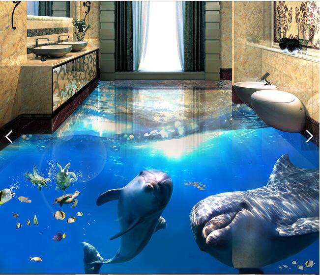 3 d pvc plancher personnalisé photo imperméable à l'eau 3d monde sous-marin dauphins 3d salle de bains plancher photo 3d peintures murales de papier peint