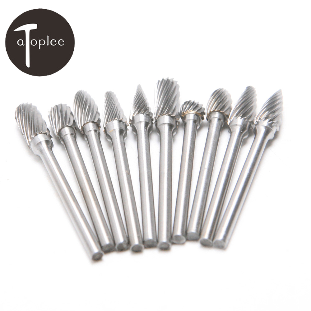 10Pcs 1/8 Shank Tungsten Carbide Rotary Burr Set Rotary File for Dremel Accessories Milling Cutter Drill Bit Engraving Bit 10pcs set 6mm for rotary drill tungsten carbide burrs points grinder cutter drilling bit top quality