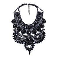 Statement Fashion Women 2016 Gun Black Stone Necklaces Pendant Collier Femme Collar Choker Vintage Maxi Chunky