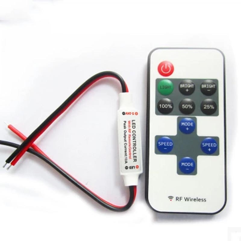 RF wireless single color led strip dimmer DC 5-24V 10keys remote controller For SMD 3528 5630 5050 3014 wireless led single color dimmer w remote controller dc 12 24v