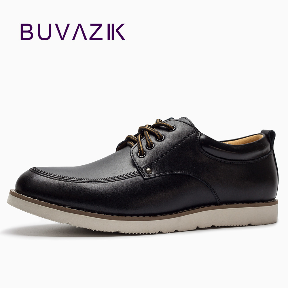 2018 BUVAZIK new concise black leather casual shoes men,size 39-45 light comfortable men's flats,lace-up fashion oxfords cbjsho brand men shoes 2017 new genuine leather moccasins comfortable men loafers luxury men s flats men casual shoes
